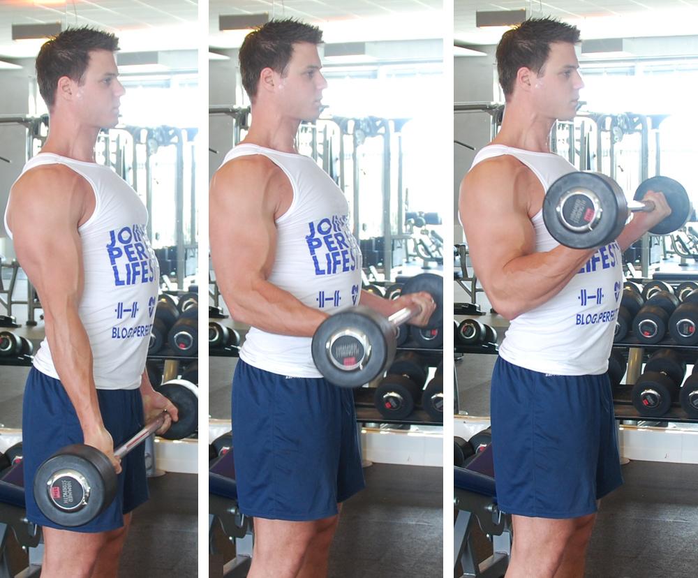 Biceps curl met stang